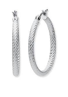Anne Klein Silver Tone Hoop Earrings