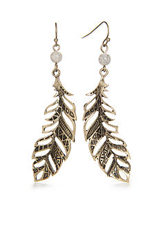 Red Camel Gold-Tone Dream Weaver Feather Drop Earrings