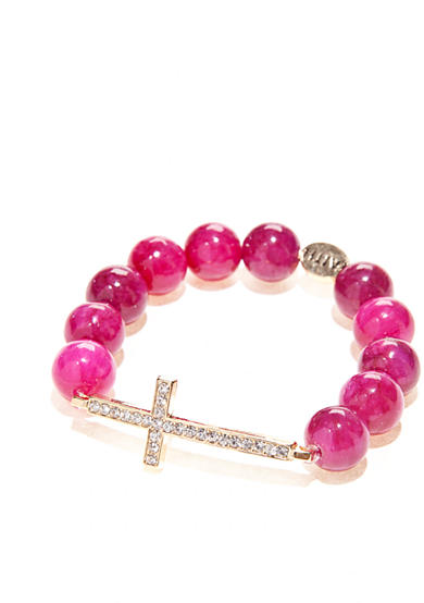 Red Camel® Sideways Stone Cross Stretch Bracelet