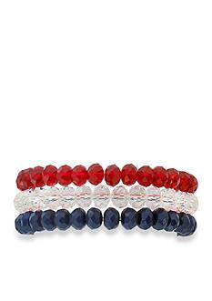 Kim Rogers Triple Row Red White Blue Stretch Bracelet