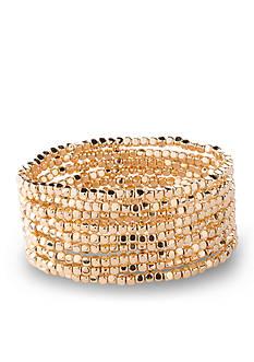 Kim Rogers Gold-Tone Multi Row Beaded Stretch Bracelet