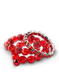 Kim Rogers Silver-Tone Red Fireball 3-Piece Stretch Bracelet Set
