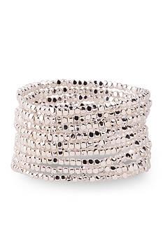 Kim Rogers Silver-Tone Multi Row Beaded Stretch Bracelet