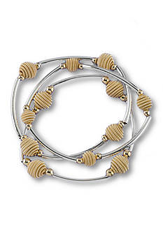 Kim Rogers Silver-Tone Sensitive Skin Beehive Stretch Bracelet Set