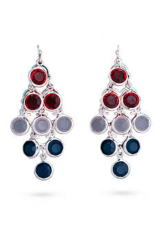 Kim Rogers® Silver-Tone Red, White and Blue Chandelier Drop Earrings