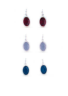 Kim Rogers Silver-Tone Red, White and Blue Faceted Oval Trio Earrings Set