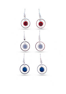 Kim Rogers Silver-Tone Red, White and Blue Circle Drop Trio Earring Set