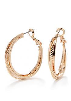 Kim Rogers Gold-Tone Hoop Earring