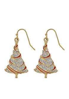 Kim Rogers Gold-Tone Glitter Christmas Tree Drop Earrings