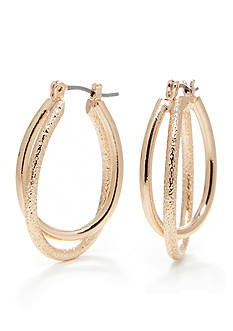 Kim Rogers Gold-Tone Plated Double Oval Hoop Earring