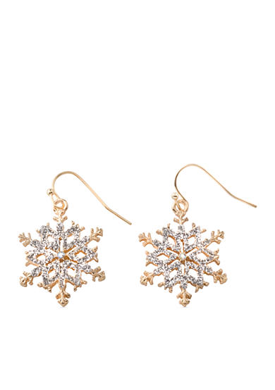 Kim Rogers® Gold-Tone and Silver Glitter Snowflake Drop Earrings