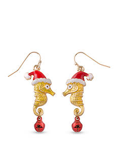 Kim Rogers Gold-Tone Seahorse with Santa Hat Drop Earrings