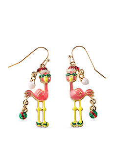 Kim Rogers Gold-Tone Christmas Flamingo Drop Earrings