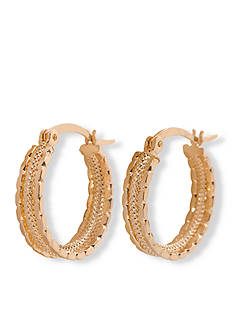 Kim Rogers Gold-Tone Small Textured Hoop Earrings
