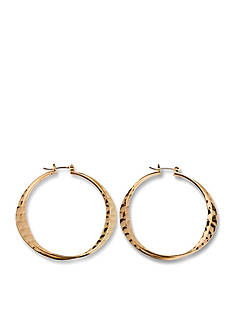 Kim Rogers Gold-Tone Double Hammered Hoop Earrings