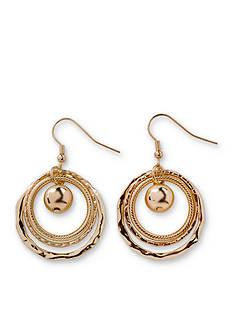 Kim Rogers Gold-Tone Triple Textured Ring Drop Earrings