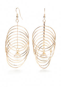 Kim Rogers Gold-Tone Pearl and Multi Ring Drop Earrings