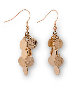 Kim Rogers Gold-Tone Hammered Disc Cluster Drop Earrings