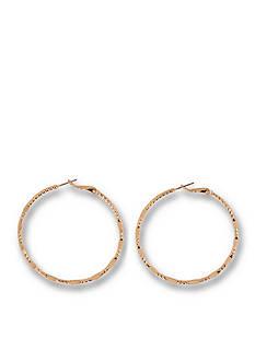 Kim Rogers Gold-Tone Large Diamond Cut Hoop Earrings
