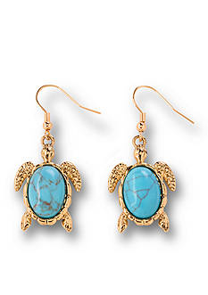 Kim Rogers Gold-Tone Turquoise Turtle Drop Earrings