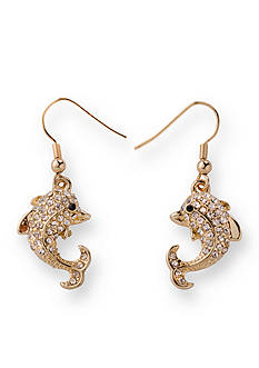 Kim Rogers Gold-Tone Pave Dolphin Drop Earrings