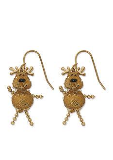 Kim Rogers Gold-Tone Glitter Reindeer Drop Earrings