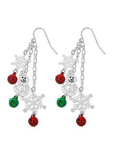 Kim Rogers Silver-Tone Snowflake Jingle Bell Shaky Drop Earrings
