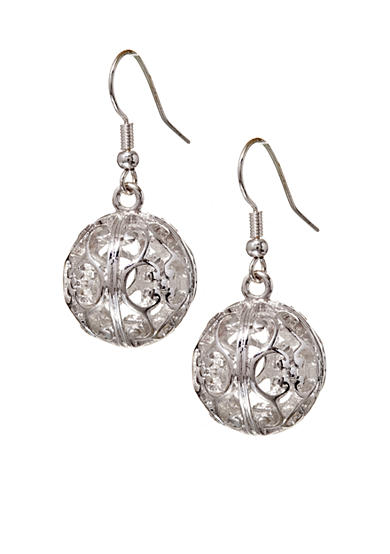 Kim Rogers® Silver-Tone Sensitive Skin Filigree Ball Drop Earrings
