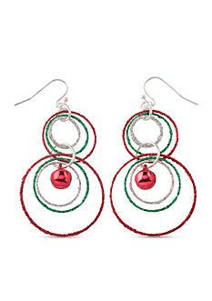 Kim Rogers Silver-Tone Interlocked Glitter Rings Earrings