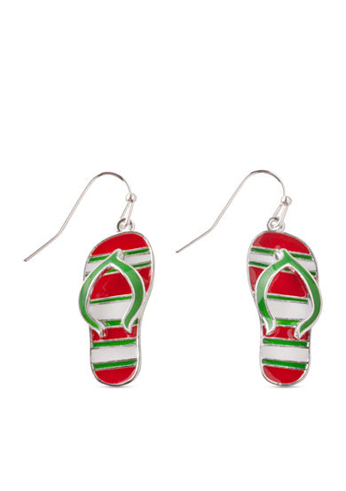 Kim Rogers® Silver-Tone Striped Flip Flop Drop Earrings
