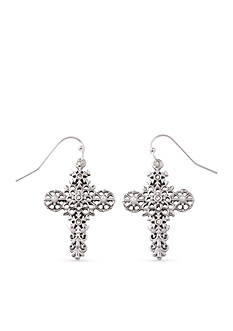 Kim Rogers Silver-Tone Filigree Cross Drop Earrings