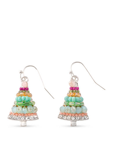 Kim Rogers® Silver-Tone Multi Colored Beaded Christmas Tree Drop Earrings
