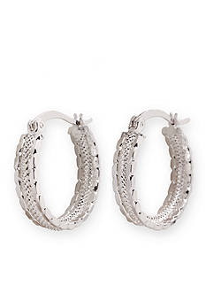 Kim Rogers Silver-Tone Small Textured Hoop Earrings