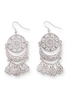 Kim Rogers Silver-Tone Round Crescent Filigree Drop Earrings