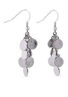 Kim Rogers Silver-Tone Hammered Disc Cluster Drop Earrings