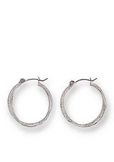 Kim Rogers Silver-Tone Diamond Cut Double Hoop Earrings