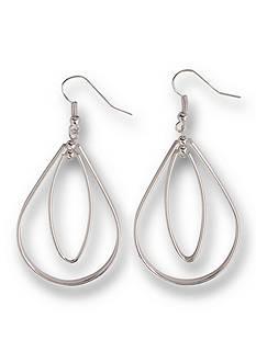 Kim Rogers Silver-Tone Teardrop Oval Drop Earrings