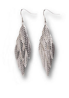 Kim Rogers Silver-Tone Leaf Chandelier Drop Earrings
