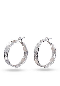 Kim Rogers Silver-Tone Textured Square and Chain Hoop Earrings