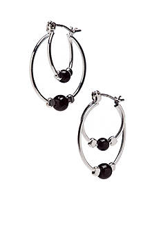 Kim Rogers Silver Plated Double Hoop Earrings With Jet Ball Accent Center