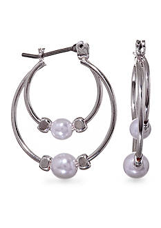Kim Rogers® Silver Plated Double Hoop Earrings With a Pearl