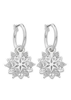 Kim Rogers Silver-Tone 3D Snowflake Hoop Earrings