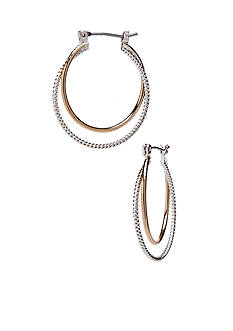 Kim Rogers Two Tone Polished Hoop with Plain and Twisted Wrapped Earrings