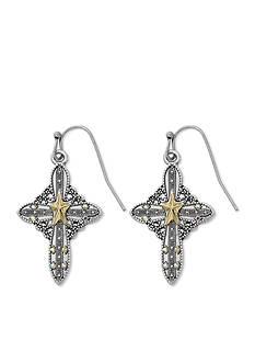 Kim Rogers Two-Tone Filigree Cross Drop Earrings