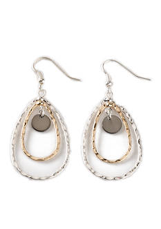 Kim Rogers Tri-Tone Hammered Teardrop Earrings