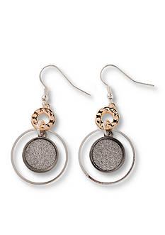 Kim Rogers Tri-Tone Open Ring Glitter Disc Drop Earring