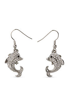 Kim Rogers Silver-Tone Pave Dolphin Drop Earrings