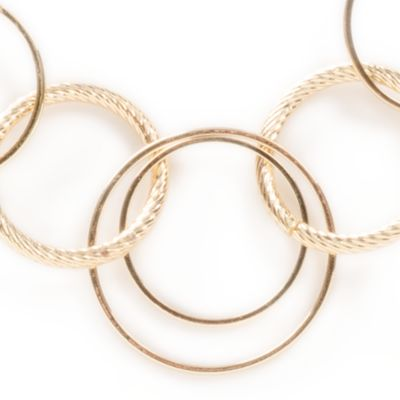 Fashion Jewelry: Gold Kim Rogers Rings and Discs Chain Necklace
