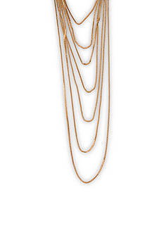Kim Rogers® Gold-Tone Multi Row Box Chain Necklace