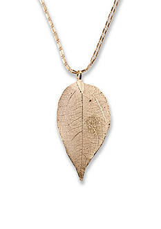 Kim Rogers Gold-Tone Double Chain with Leaf Pendant Necklace